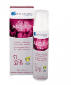 calma las pieles irritadas en perros y gatos con dermoscent atop 7 spray de 75 ml